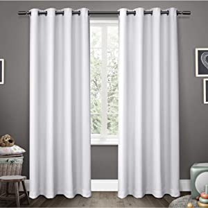 Exclusive Home Curtains Sateen Twill Woven Blackout Grommet Top Curtain Panel Pair, 52x63, Winter White, 2 Piece