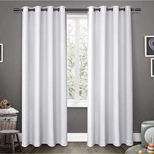 Exclusive Home Curtains Sateen Twill Woven Blackout Grommet Top Curtain Panel Pair, 52×84, Winter White, 2 Piece