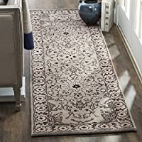 Safavieh Antiquities Collection AT58A Oriental Persian Floral Medallion Grey and Beige Premium Wool Runner (23 x 8)