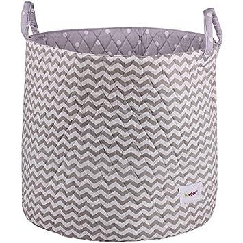 Delicate Minene Large Storage Basket With Grey Chevron   Star Storage  Baskets, Round Storage Baskets, Large Fabric Storage Basket   Great For Toy  Storage, ...