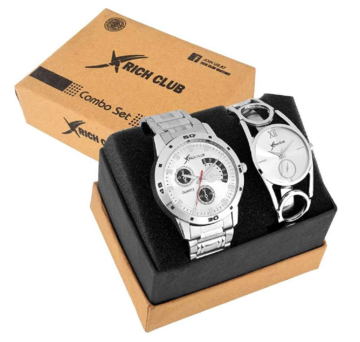 Rich Club Set of 2 Addictive Silver Analogue Couple Watch