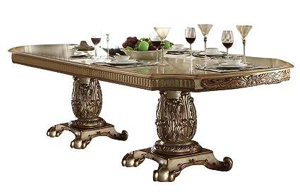 Amazoncom Acme Vendome Gold Patina Dining Table Tables