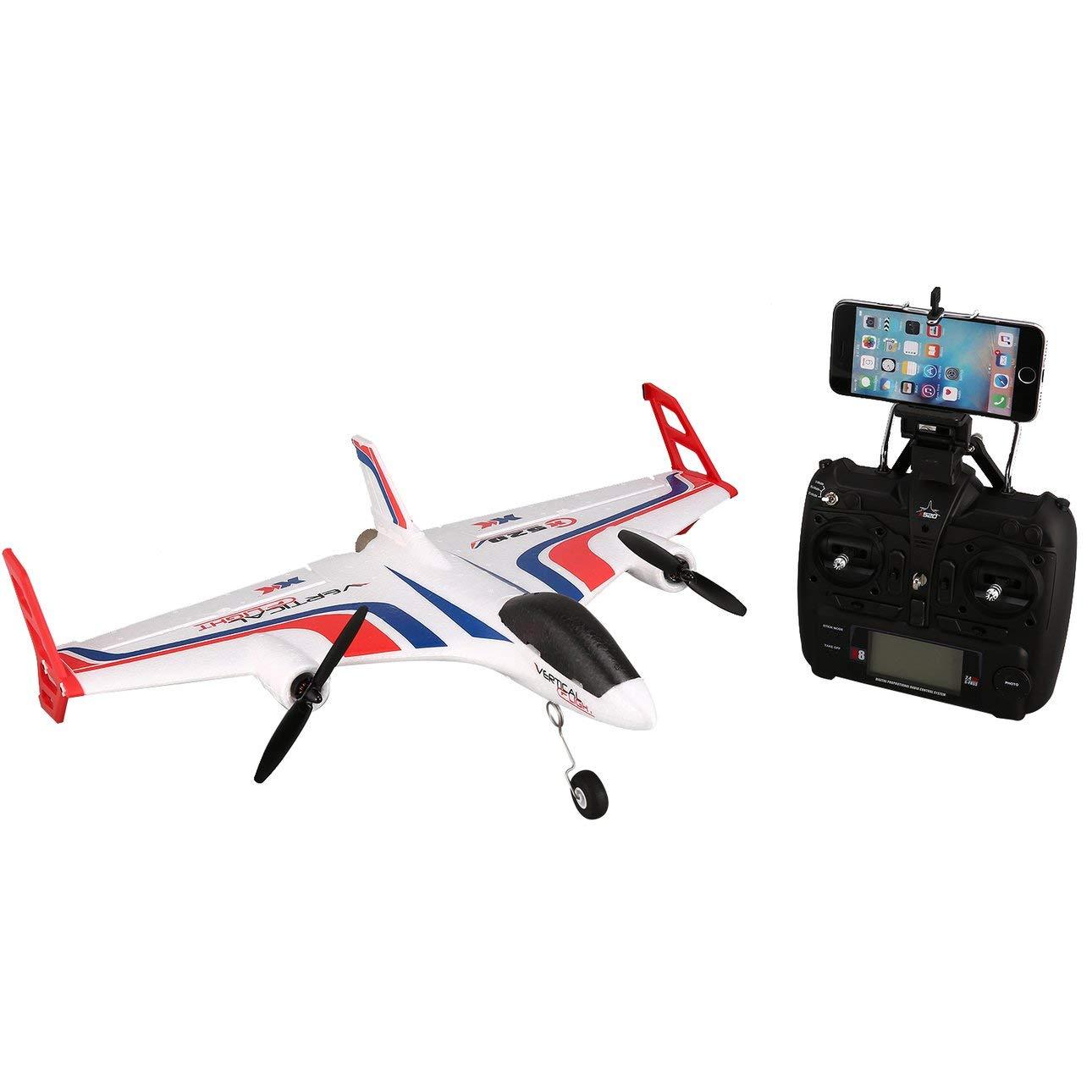 Ballylelly Drone RC con cameraXK X520 6CH 3D   6G Airplane VTOL Decollo verdeicale Land Delta Wing Brushless RC Drone ad Ala Fissa con Interruttore Mode 720 FPV Camera