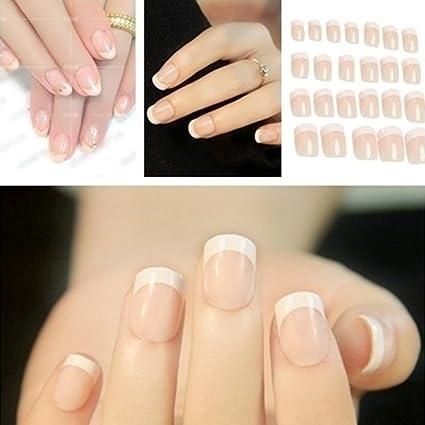 Juego de 24 uñas postizas de color blanco para manicura francesa con pegamento de tamaño mediano