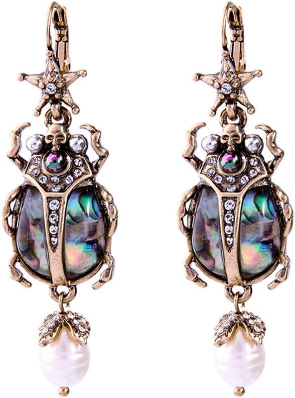 Daliuing Pendientes vintage para niñas, con forma de insecto, pendientes de gota con purpurina, elegantes perlas artificiales, pendientes de lágrima, joyería de regalo para mujeres