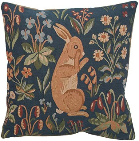 Charlotte Home Furnishing Inc France Cushion Cover Small 14 00 In X 14 00 In Medieval Rabbit Standing Home Kitchen