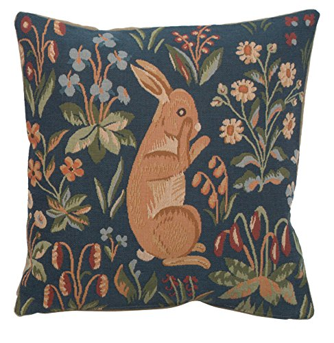Woven French tapestry, Medieval Rabbit Standing. 14 x 14