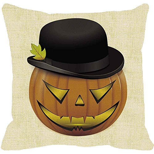 Napoo Happy Halloween Pillow Cases, 2018 Spider Moon Bat Pumpkin Square Throw Linen Pillow Case Cushion Cover Burlap Home Sofa Decor (C)]()