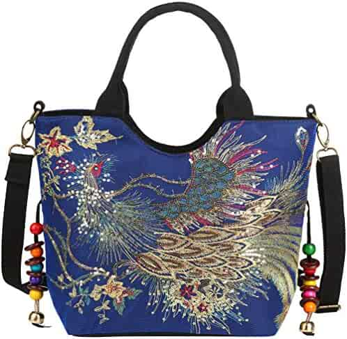 b724a7587f6a Vbiger Women Canvas Shoulder Bag Peacock Embroidery Handbag Stylish Tote  Bags Casual Cross-body Bag