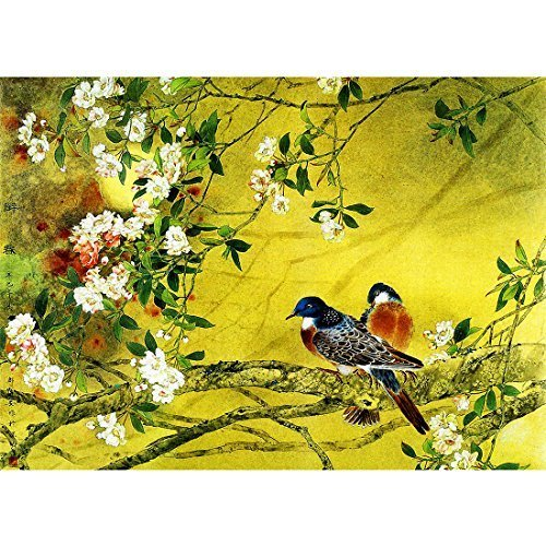 Meishe Art Vintage Poster Print Chinese Traditional Painting Birds and Flowers Oriental Ancient Asian Watercolor Drawing Wall Decor