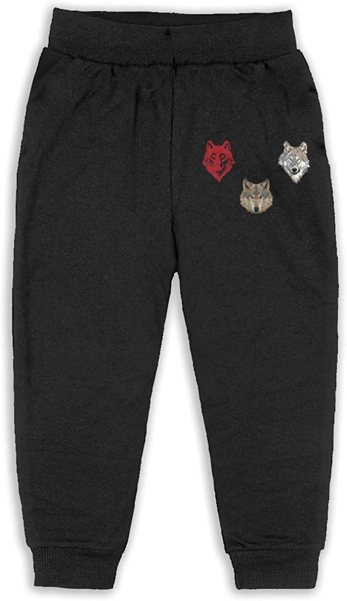 Kids Big Wolf Head Boys Girls Sweatpants Active Jogger Pants Back Pocket Black