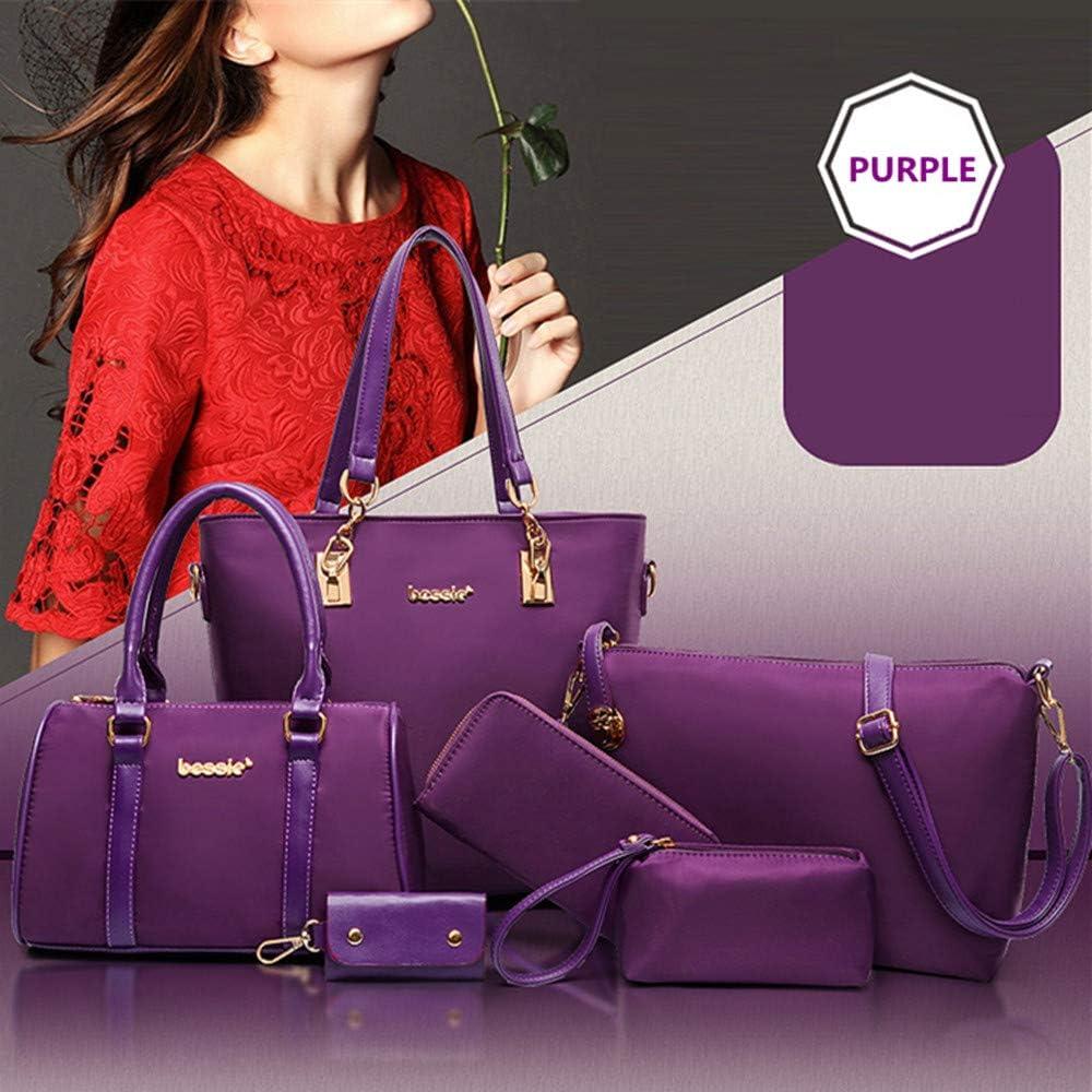 AlwaySky Nylon Womens Shoulder Bag 6 PCS Top-Handle Handbag Tote Purse Wallet Key Case Set