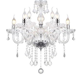 Design LED Decken Lampe Lüster Kronleuchter Leuchte Chrom Beleuchtung Ess Zimmer