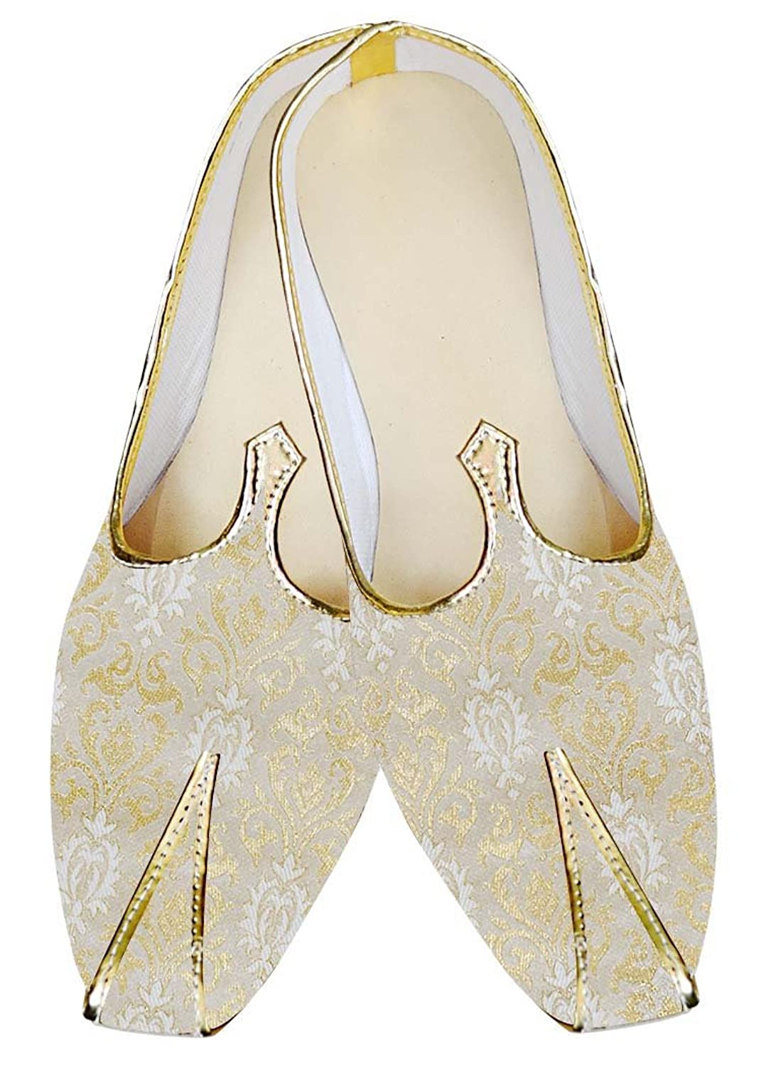 Mens Cream and Golden Wedding Shoes MJ07986