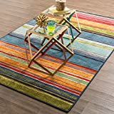Mohawk Home Contemporary Rectangle Area Rug 2'6″ x3'10 Blue Gray-Orange Rainbow Collection Bundle Includes Scented Candle Wax from Designer Home For Sale