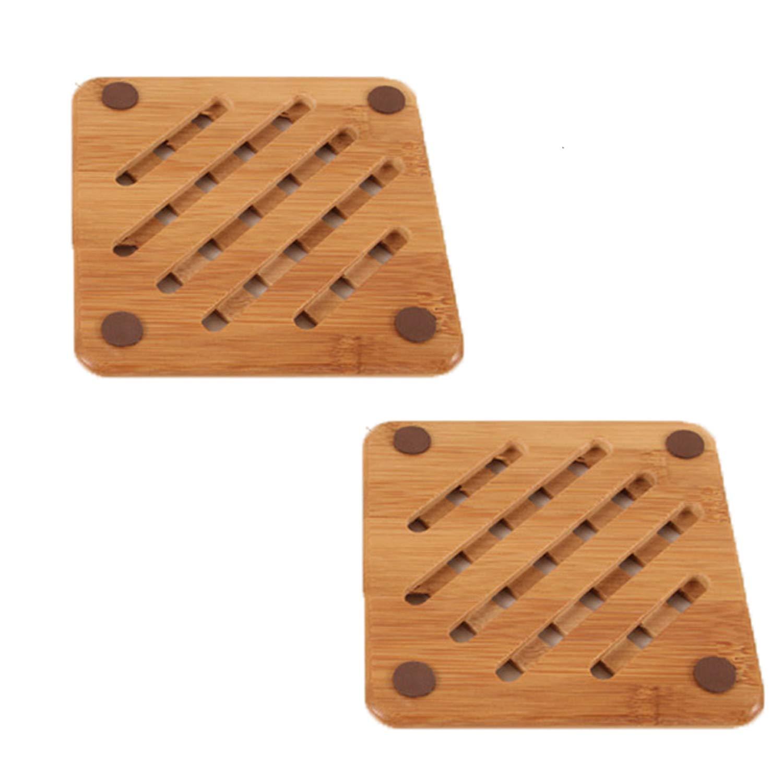 Linshing Multifunction Natural Bamboo Heat Resistant Anti-Slip Holder Pad for Pots Kettles Cups 2pcs Set (Set 1-2pcs Small Round Shape) lhLinshing