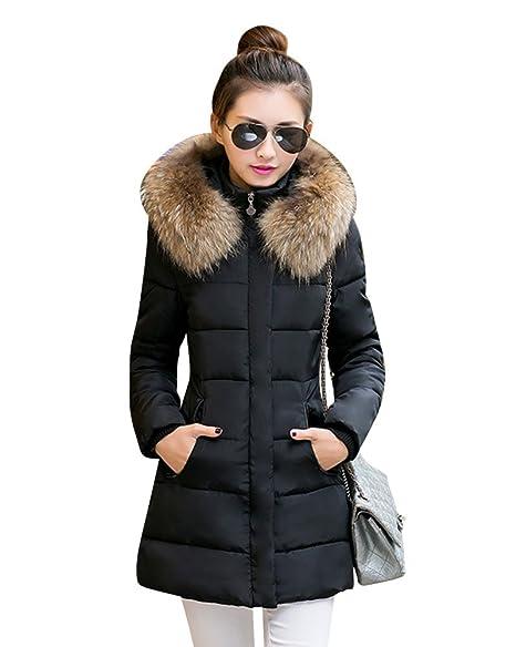 LaoZan Inverno Donna Lungo Giacca Spessore Sottile Cappotto Imbottito con  Pelliccia Ecologica Cappuccio Nero 2XL 76db927af6f