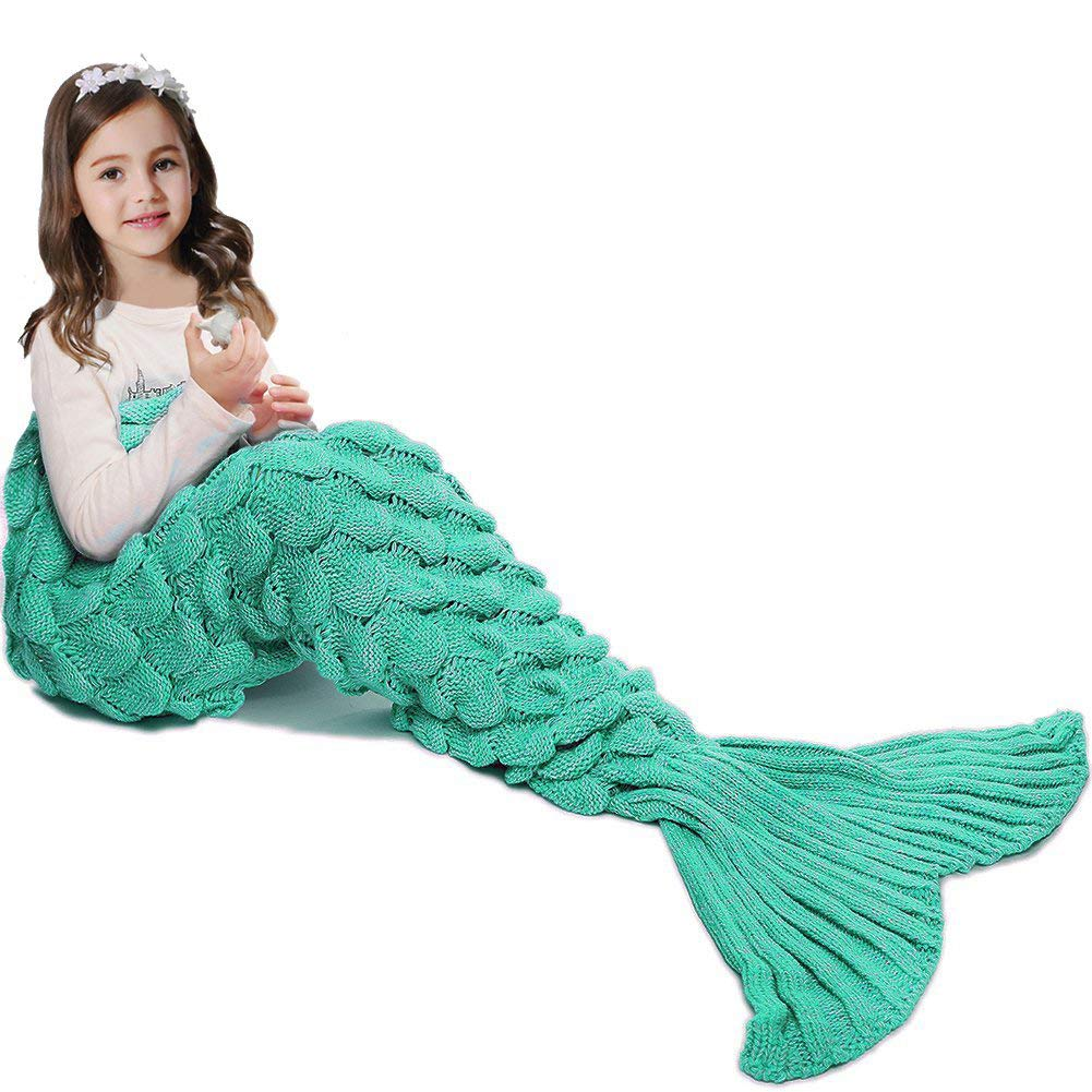 JR.WHITE Mermaid Tail Blanket Kids Adult,Hand Crochet Snuggle Mermaid,All Seasons Seatail Sleeping Bag Blanket (Kids size-Scale-Green)