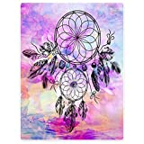 Blankets Fleece Warm Throw for Sofa Bed Purple Dream Catcher Feathers Fantasy Bohemian 30″ x 40″