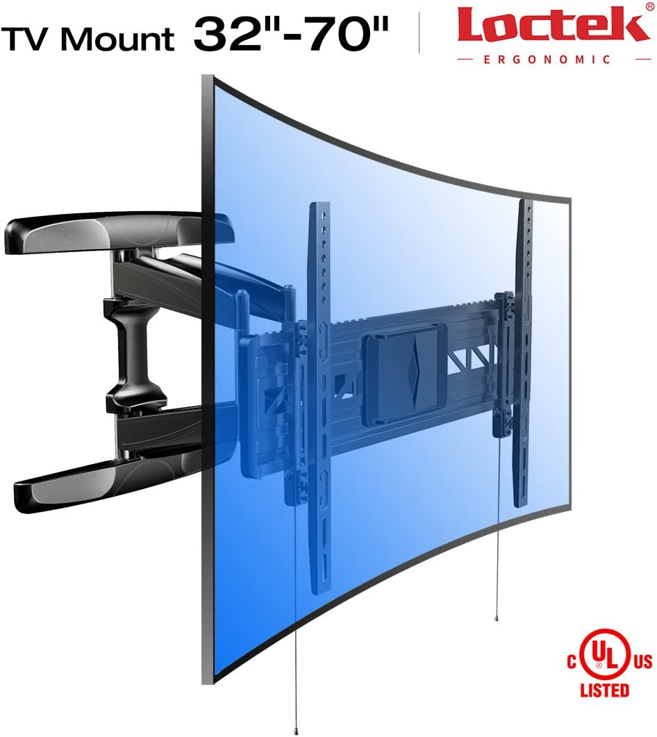 "Loctek 18.8"" Long Extension Curved TV Wall Mount Bracket for 32-70 inch Both Curved and Flat Panel TVs with VESA Patterns up to 600 x 400mm/Articulating Arm Swivel Tilt Max. Fits 16 inch Wall Stud"