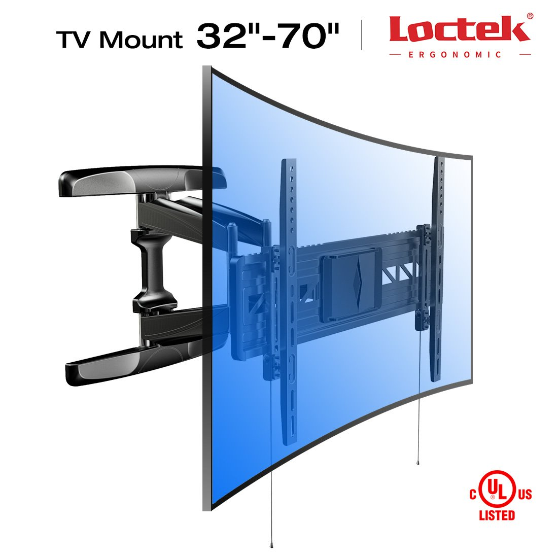 Loctek 18.8'' Long Extension Curved TV Wall Mount Bracket for 32-70 inch Both Curved and Flat Panel TVs with VESA Patterns up to 600 x 400mm/Articulating Arm Swivel Tilt Max. Fits 16 inch Wall Stud