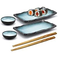 Happy Sales HSST-BLUGRY, 6 Piece Japanese Style Sushi Plate Dinnerware Set, Grey Blue