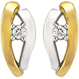 Ornami Glamour 0.045 Carat Diamond Stud Earrings in 9ct 2-Colour Gold