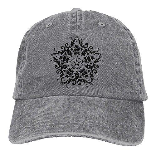 Neutral Floral Silhouette 17 Hat Cotton Denim Fabric Hat Designed Cowboy Hat (Silhouette Poms)