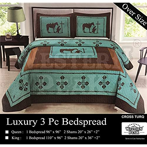 Western Peak Praying Cowboy Horse Barb Wire Star Cabin Lodge Luxury Quilt  Bedspread Coverlet Comforter 3 Piece Beige Brown Set (Turquoise Queen)