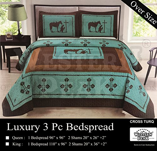 Western Peak Praying Cowboy Horse Barb Wire Star Cabin Lodge Luxury Quilt Bedspread Coverlet Comforter 3 Piece Beige Brown Set (Turquoise King)