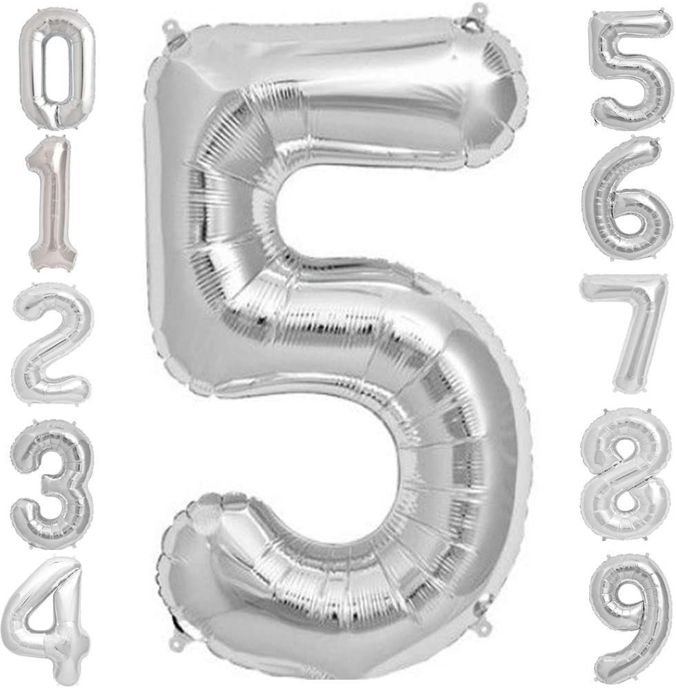 Tellpet Silver Number 5 Balloon, 40 Inch