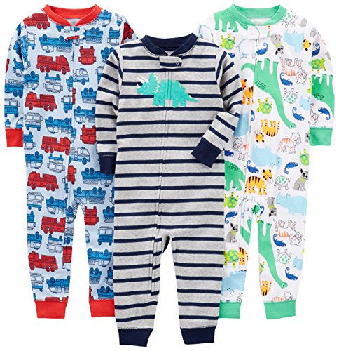 Simple Joys by Carter's Baby Boys' 3-Pack Snug Fit Footless Cotton Pajamas, Fire Truck/Dino/Animals Green/Green, 18 Months (Pajama Cotton Animal)