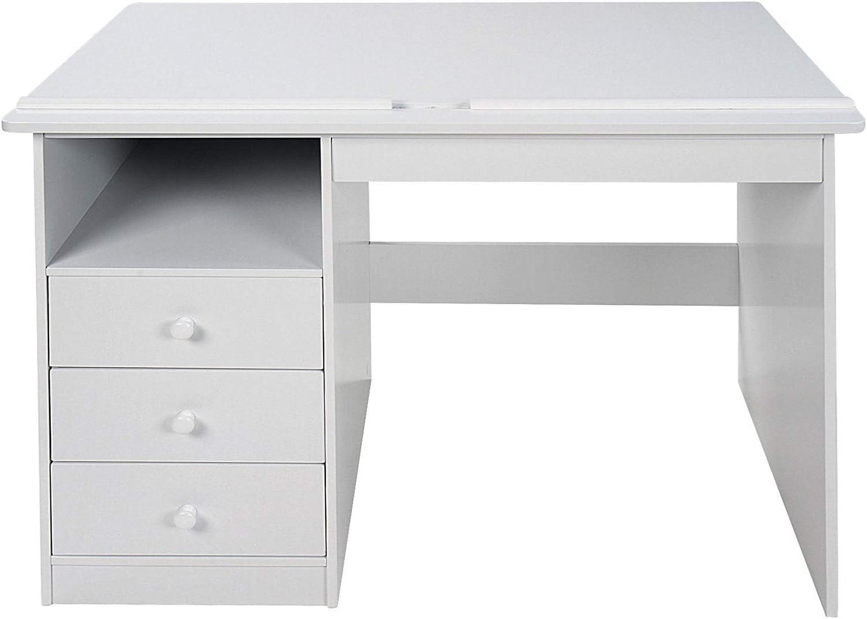 Bianco scrivania da Disegno con 3 Cassetti e 1 Ripiano MDF Stabile Tavolo da Disegno Inclinabile 100x55x73cm Scrivania da Ufficio NOVA Scrivania per Bambini con Piano Regolabile