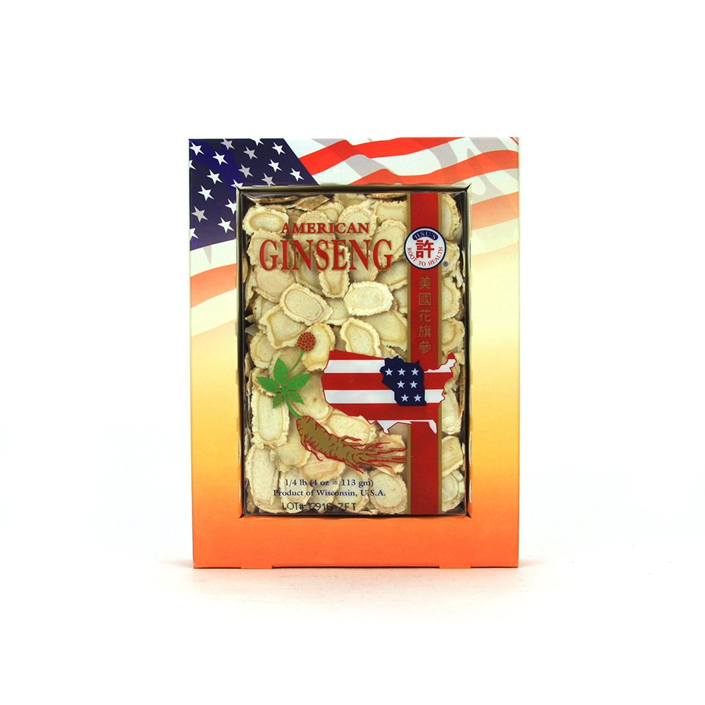 HSU's Ginseng SKU 126LL-4 | Medium Sorted Slices 人工花旗參中號規格片 | Wisconsin American Ginseng Direct from Hsu's Ginseng Gardens w/One Single American Ginseng Tea Bag | 4 oz Box, 许氏花旗参, 西洋参, B078P2DM1S