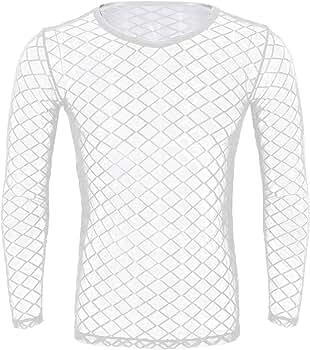Alvivi Atractivo Hombre Camiseta de Malla Transparente Camisa Interior de Manga Larga Ropa Interior para Hombres Primavera Otoño Club Wear M-XL Blanco Medium: Amazon.es: Ropa y accesorios