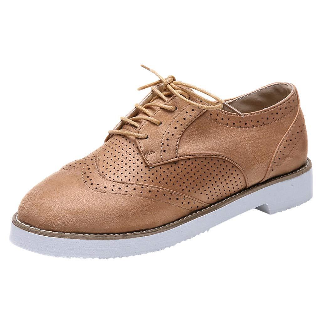 Sunnywill Chaussures Plates à Bout Rond pour Femmes, Daim Casual Chaussures de Sport en Dentelle
