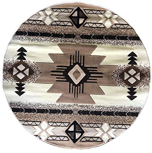 Concord Southwest Native American Indian Round Area Rug Ivory Design C318 (6 Feet 7 Inch X6 Feet 7 Inch Round)
