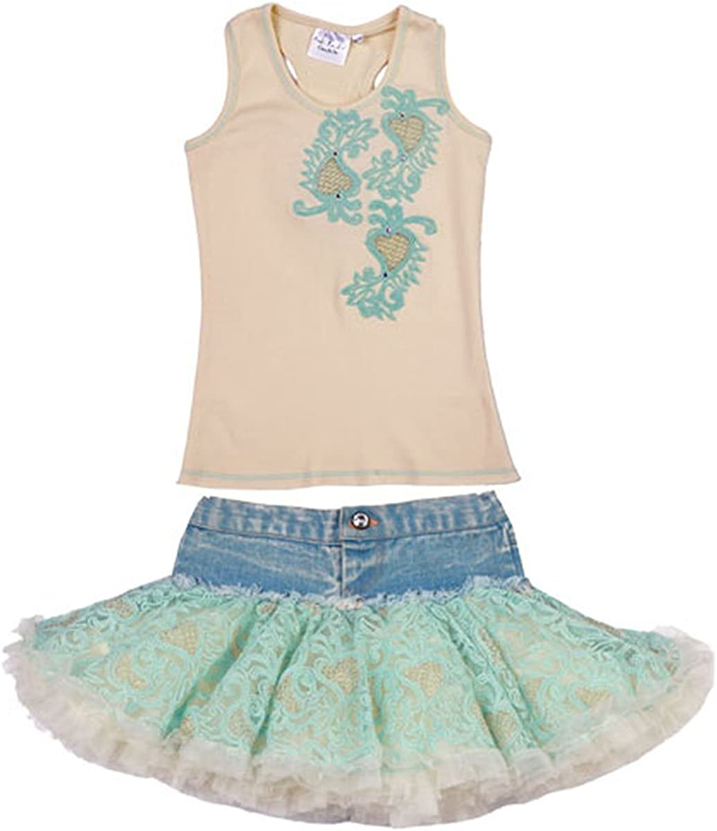 Couture Champagne /& Ice Blue Denim Skirt Set Ooh la la