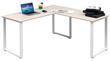 Amazon.com : Merax 59-Inch L-Shaped Desk with metal Legs Office ...