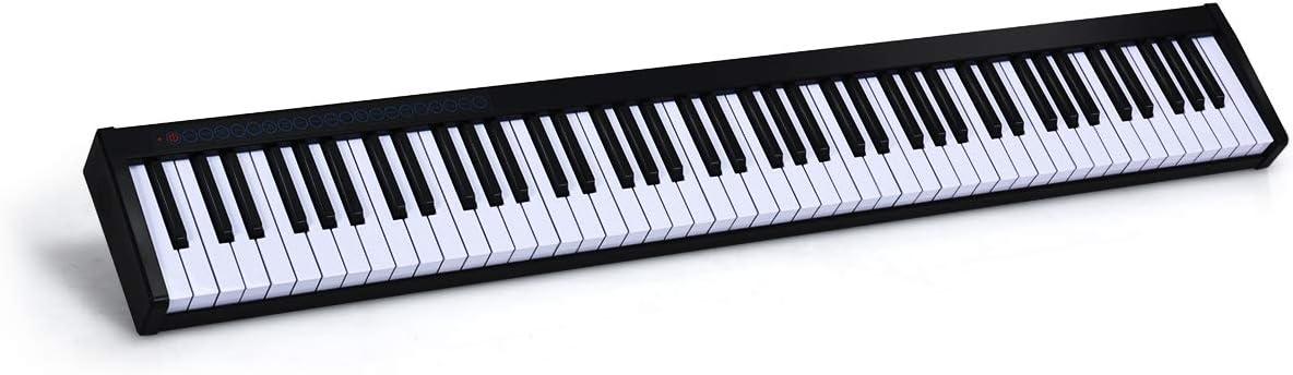 COSTWAY Teclado Piano Digital 88 Teclas Portátil con MIDI Bluetooth,Panel de Control Bolsa de Transporte Regalo para Niños y Principiantes negro