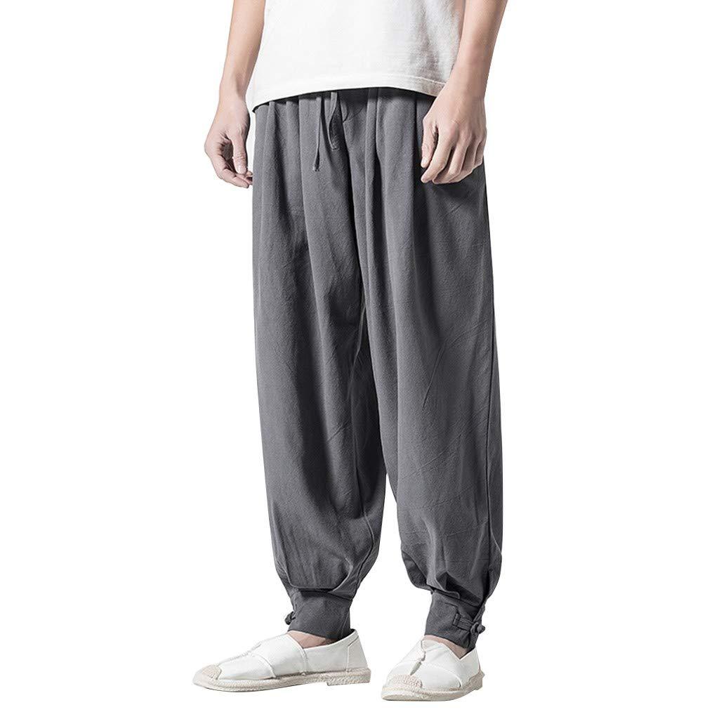 TANLANG Men's Casual Lightweight Loose Yoga Pants Elastic Waist Model Holiday Harem Pants Gray