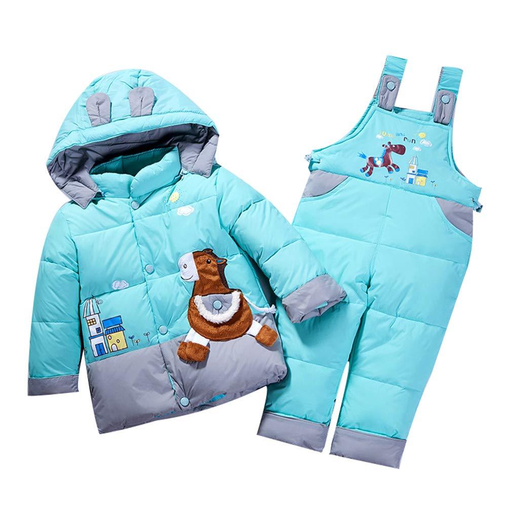 LPATTERN Unisex Baby Toddler Winter Snowsuit Cartoon Ski Snowpants Bib Down Coat Hooded Puffer Jacket 2 Piece Set Outfit uk7-F8412