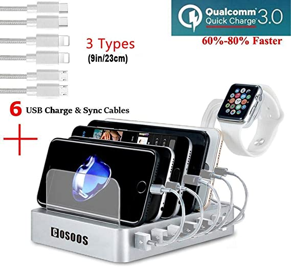 UL Certified COSOOS Fastest Charging Station with Quick Charge QC 3.0 3 Type 6 Phone Charger Cables ,lWatch Stand,6-Port Multi USB Charger Station,Charging Station for Multiple Devices,Tablet,Kindle
