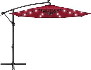 Best Choice Products 10ft Solar LED Offset Hanging Polyester Market Patio Umbrella w/Steel Frame and Easy Tilt Adjustment, Burgundy