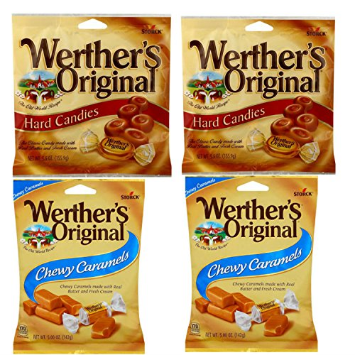 Werthers Original Candy Combo with Werthers Original Caramel Candy and Chewy Caramels Candy. Easy Shopping For 2 Popular Candy Alternatives. THE Choice for Office, Home or Dorm. Vegetarian Friendly!