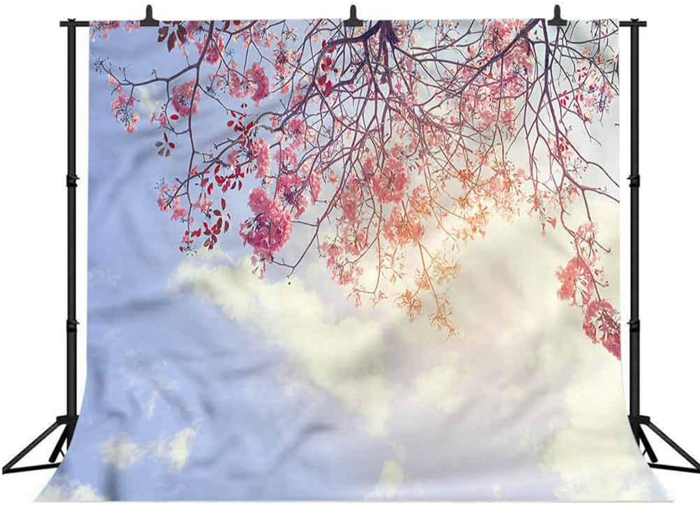 8x8FT Vinyl Wall Photography Backdrop,Tree,Pink Flowers Sunny Morning Background for Baby Birthday Party Wedding Studio Props Photography