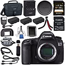 Canon EOS 5DS-R 5DSR DSLR Camera + LPE-6 Lithium Ion Battery + Sony 128GB SDXC Card + Canon W-E1 Wi-Fi Adapter + Canon 100ES EOS shoulder bag + Flexible Tripod + Hand Strap Bundle