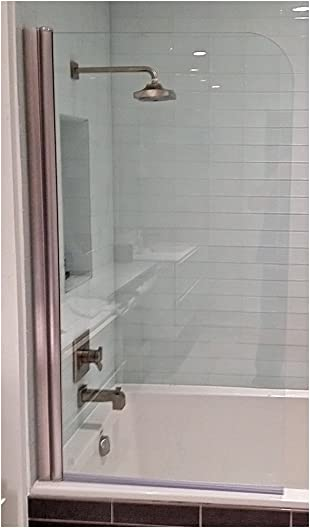 Ark Showers 643008NPS Semi-Frameless Bathtub Shower Screen and Accessory, Brushed Silver