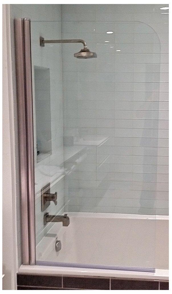 Ark Showers 643008NPR Semi-Frameless Bathtub Shower Screen and Accessory, Brushed Silver