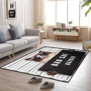Area Rug, Anti-Static, Water-Repellent Rugs Good Elasticity, Stylish in Design for Living Room Kids Room, Cat | Bad Gang Cat in Jail Kitty Under Arrest Criminal Prisoner Hangover Artsy Work - 4'x5'